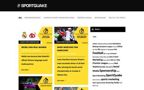 Screenshot of Press Page sportquake.com - SportQuake   Latest Sports Industry Marketing News   Sports Marketing Agency - captured Nov. 6, 2017