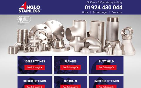 Screenshot of Home Page anglostainless.co.uk - Home - Anglo Stainless - captured Oct. 2, 2018