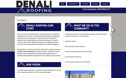 Screenshot of About Page denaliroofs.com - Loveland Roofing Contractor| About Denali Roofing - captured Feb. 9, 2016