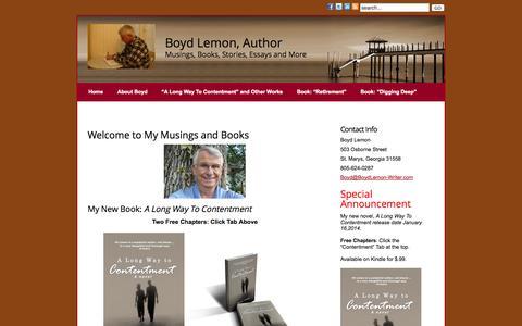 Screenshot of Home Page boydlemon-writer.com - Boyd Lemon author website » Boyd Lemon, Writer - captured Oct. 5, 2014