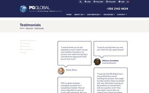 Screenshot of Testimonials Page pg-global.com - Testimonials - PG Global - captured July 15, 2018