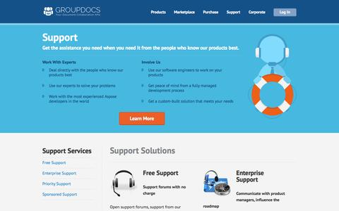 Screenshot of Services Page groupdocs.com - Support Solutions - captured Oct. 10, 2014