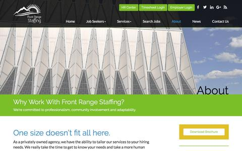 Screenshot of About Page frontrangestaffing.com - About - Front Range Staffing - captured June 6, 2017