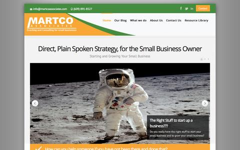 Screenshot of Home Page martcoassociates.com - Business Consulting for Small Business, Business Management Consulting - captured Sept. 30, 2014
