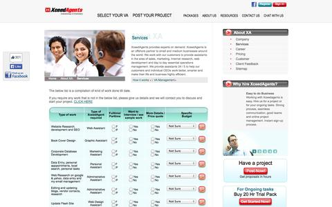 Screenshot of Services Page xceedagents.com - Xceedagents Services- Hire a VA! - captured Oct. 27, 2014