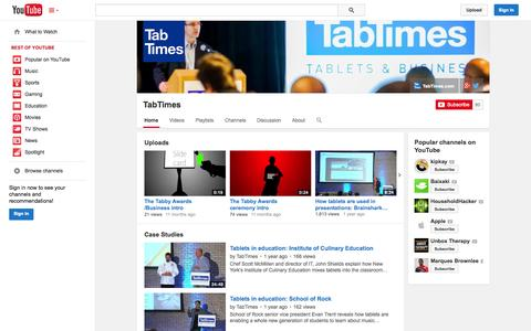 Screenshot of YouTube Page youtube.com - TabTimes  - YouTube - captured Oct. 29, 2014