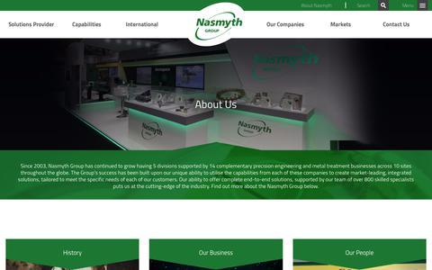 Screenshot of About Page nasmythgroup.com - About Us | Nasmyth - captured Nov. 15, 2017