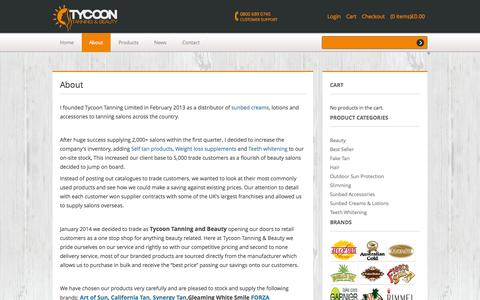 Screenshot of About Page tycoontanning.co.uk - About - Tycoon Tanning & Beauty - captured Oct. 6, 2014