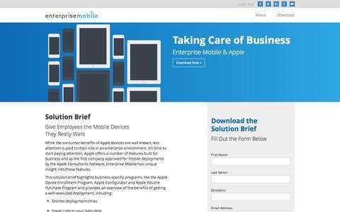 Screenshot of Landing Page enterprisemobile.com - Enterprise Mobile & Apple | Enterprise Mobile - captured Oct. 27, 2014