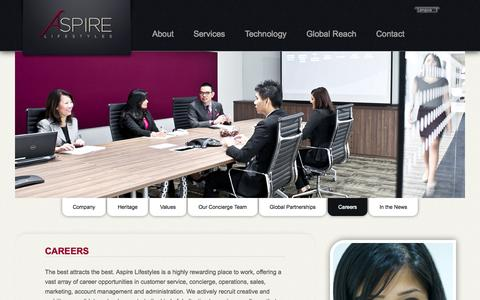 Screenshot of Jobs Page aspirelifestyles.com - Concierge Careers | Aspire Lifestyles - captured Sept. 19, 2014