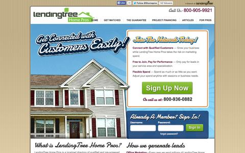 Screenshot of Login Page lendingtree.com - Done Right! Pros Join Now - captured Sept. 19, 2014