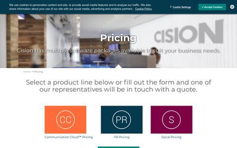 Screenshot of Pricing Page cision.ca - Pricing - captured July 11, 2018