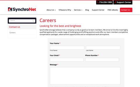 Screenshot of Jobs Page synchronet.net - Careers - West Seneca, Buffalo, Cheektowaga | SynchroNet - captured Oct. 26, 2017