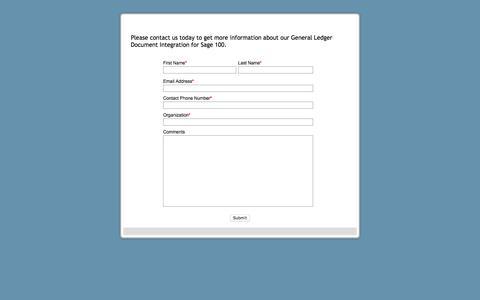 Screenshot of Landing Page fayebsg.com - General Ledger Document Integration for Sage 100 Contact Us Form - captured Jan. 14, 2018