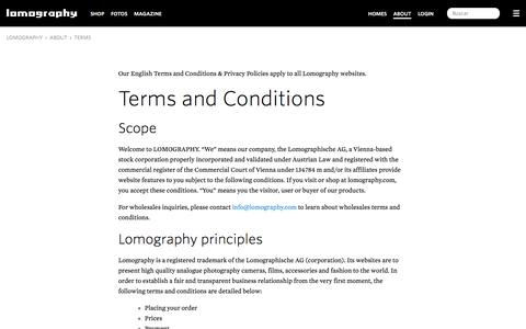 Screenshot of Terms Page lomography.es - Terms · Lomography - captured Jan. 20, 2016