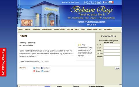 Screenshot of Hours Page behnamrugs.com - Behnam Rugs Store Hours | Behnam Rugs - captured Oct. 5, 2014