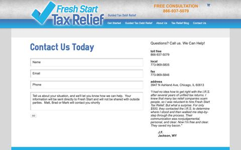 Screenshot of Contact Page freshstarttaxrelief.com - Contact Us | Fresh Start Tax Relief - captured Oct. 11, 2018
