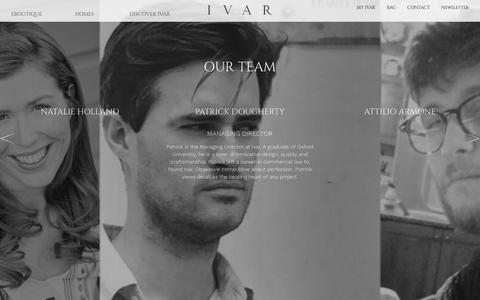 Screenshot of Team Page ivarlondon.com - Our Team Archive - Ivar - captured Feb. 11, 2016