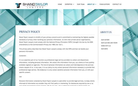 Screenshot of Privacy Page shandtaylor.com.au - About Us - Shand Taylor Lawyers - captured Oct. 26, 2014