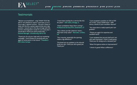 Screenshot of Testimonials Page ea-select.com - Testimonials - EA Select - captured Dec. 5, 2015