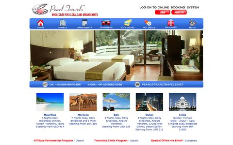 Screenshot of Home Page pearltravels.com - Wholesale rates for Hotels worldwide. Online booking system with multiple currencies. - captured Sept. 26, 2014