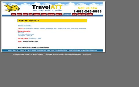 Screenshot of Contact Page travelatt.com - Airline Tickets, Cheap Flights, Cheap Plane Tickets, Hotels, Car Rentals - TRAVELATT.COM - Airline Consolidator for Discount International Airfares, Cheap Flights and Ticket deals to Europe, Africa, Middle-East, Asia, Australia, New Zealand, South Am - captured Oct. 9, 2014