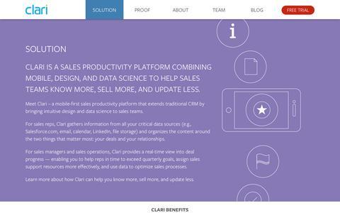 Screenshot of Trial Page clari.com - Solution - captured Sept. 12, 2014