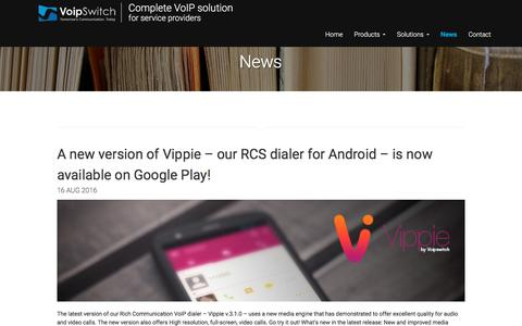 Screenshot of Press Page voipswitch.com - News - - captured Aug. 31, 2016
