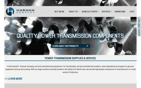 Screenshot of Home Page harmanco.com - Power Transmission Supplies & Service - Harman Company - captured Nov. 15, 2018