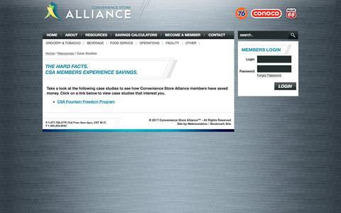 Screenshot of Case Studies Page cstorealliance.com - CSA Case Studies - captured Aug. 26, 2017