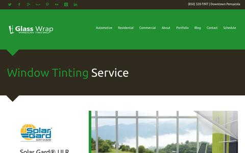 Screenshot of Home Page glasswrap.com - Glass Wrap | Window Tinting Service | Pensacola, FL - captured Oct. 2, 2014