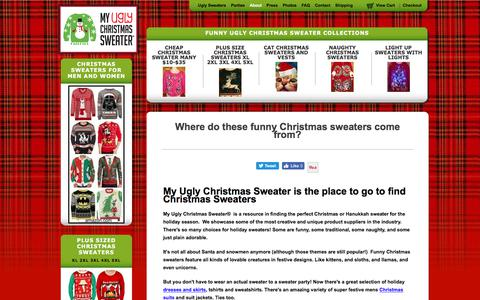 Screenshot of About Page myuglychristmassweater.com - My Ugly Christmas Sweater - Information About Our Sweaters and Company - captured Nov. 11, 2017