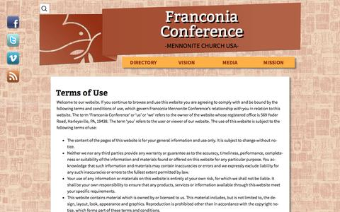 Screenshot of Terms Page franconiaconference.org - Terms of Use | Franconia Conference - captured Oct. 6, 2014