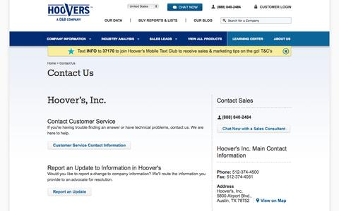 Contact Customer Service | Provide Feedback | Hoover's