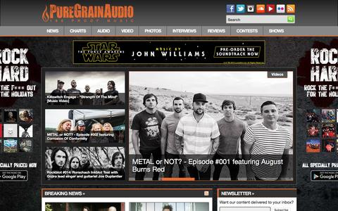 Screenshot of Home Page puregrainaudio.com - PureGrainAudio.com - Rock & Metal News, Free MP3s, Interviews, Reviews, Videos, Contests & More - captured Dec. 14, 2015