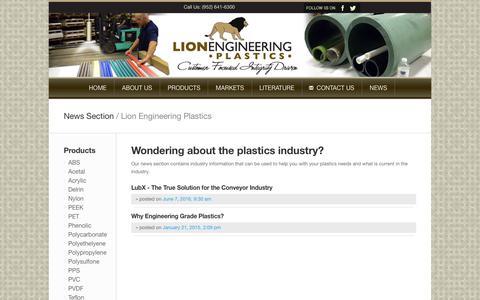 Screenshot of Press Page lionep.com - Lionep.com :: Engineering Plastics Supply in Bloomington MN for Lion Engineering Plastics | Plastics Supplier of Delrin, PEEK, PET, Teflon & Ultem - captured Sept. 29, 2018