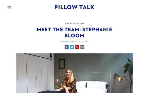 Screenshot of Team Page casper.com - Meet the Team: Stephanie Bloom - Casper Mattress Bedtime Reading : Pillow Talk | Casper - captured April 2, 2017
