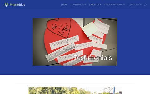 Screenshot of Testimonials Page pharmblue.com - TESTIMONIALS | PharmBlue - captured July 30, 2017