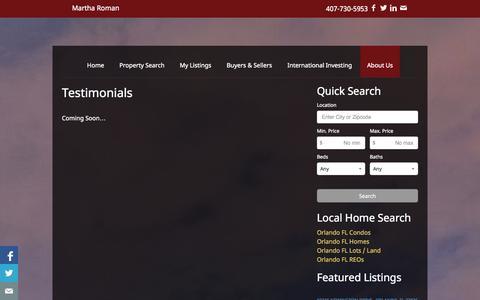 Screenshot of Testimonials Page martharoman.com - Testimonials | Martha Roman | Real Estate | Homes For Sale | Orlando | Florida | Property Search - captured Oct. 27, 2014