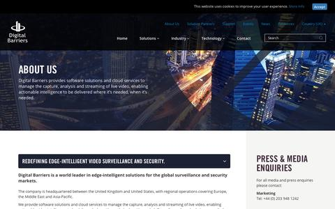 Screenshot of About Page digitalbarriers.com - About Us | Video Surveillance & Security | Digital Barriers - captured Sept. 25, 2018