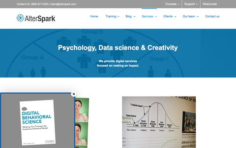 Screenshot of Services Page alterspark.com - Digital psychology and data science services | Digital Psychology Training - captured March 25, 2018