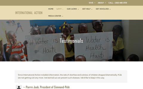 Screenshot of Testimonials Page haitiwater.org - Testimonials|Haiti Water - captured Oct. 12, 2018