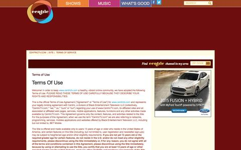 Screenshot of Terms Page centrictv.com - Terms of Use - captured Nov. 4, 2014