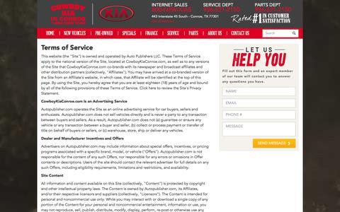 Screenshot of Terms Page cowboykiaconroe.com - Terms of Service - captured Nov. 2, 2014
