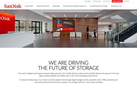 Screenshot of About Page sandisk.com - About SanDisk - Expanding the Possibilities of Storage - captured Oct. 21, 2015