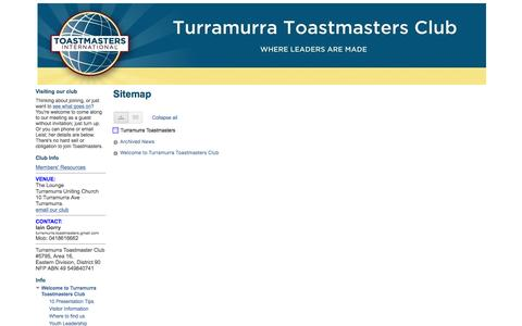 Screenshot of Site Map Page google.com - Sitemap - Turramurra Toastmasters - captured Aug. 16, 2016