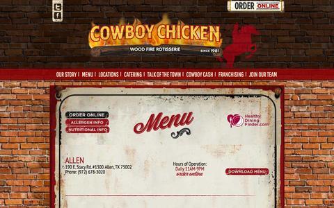 Screenshot of Menu Page cowboychicken.com - Menus | CowboyChicken - captured Dec. 6, 2015