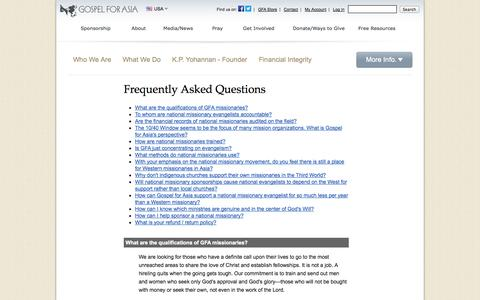 Screenshot of FAQ Page gfa.org - Frequently Asked Questions< - Gospel for Asia - captured Sept. 19, 2014