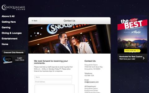 Screenshot of Contact Page snocasino.com - Contact Us - Snoqualmie Casino | We'd Love to Hear From You - captured Sept. 24, 2014