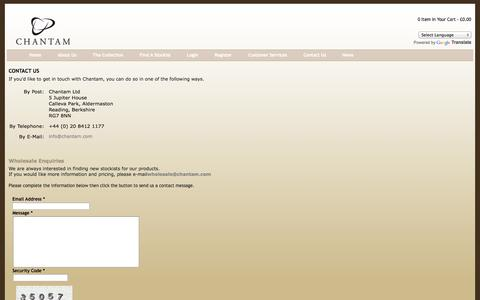 Screenshot of Contact Page chantam.com - Chantam Harris Tweed Handbags and Tartan Handbags - captured Oct. 2, 2014